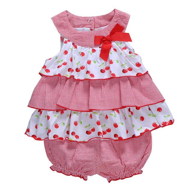 2016 estilo verão bebê menina vestido de algodão sem mangas bonito arco meninas roupas conjuntos infantil Set roupas 2 pcs do bebê ajustado para 0 - 2 ano