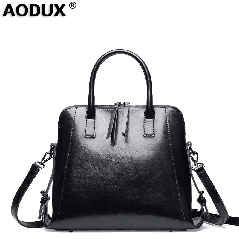 A2018 Vintage Fashion Designer Genuine Leather Shopping Womens Handbag Oil Wax Cow Leather Shoulder Bag Tote Ladies Handle BagsA2018 Vintage Fashion Designer Genuine Leather Shopping Womens Handbag Oil Wax Cow Leather Shoulder Bag Tote Ladies Handle Bags