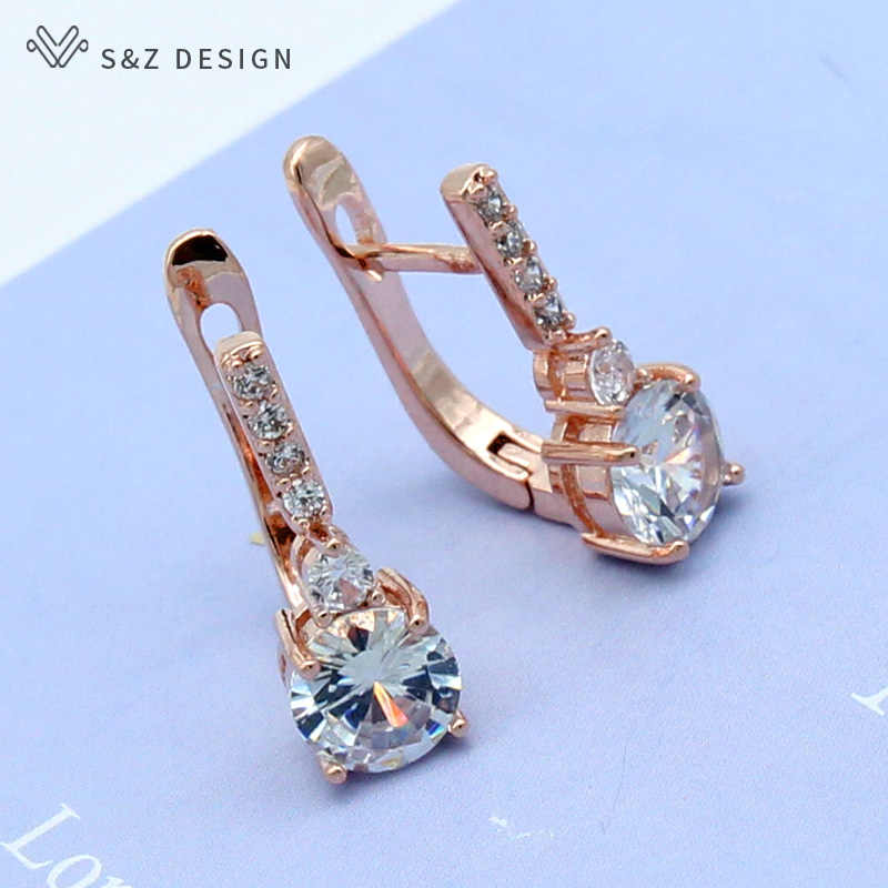 S&Z Round Micro Wax Inlay Cubic Zirconia Dangle Earrings 585 Rose Gold For Japan/South Korea Women Girl's Luxury Party Jewelry