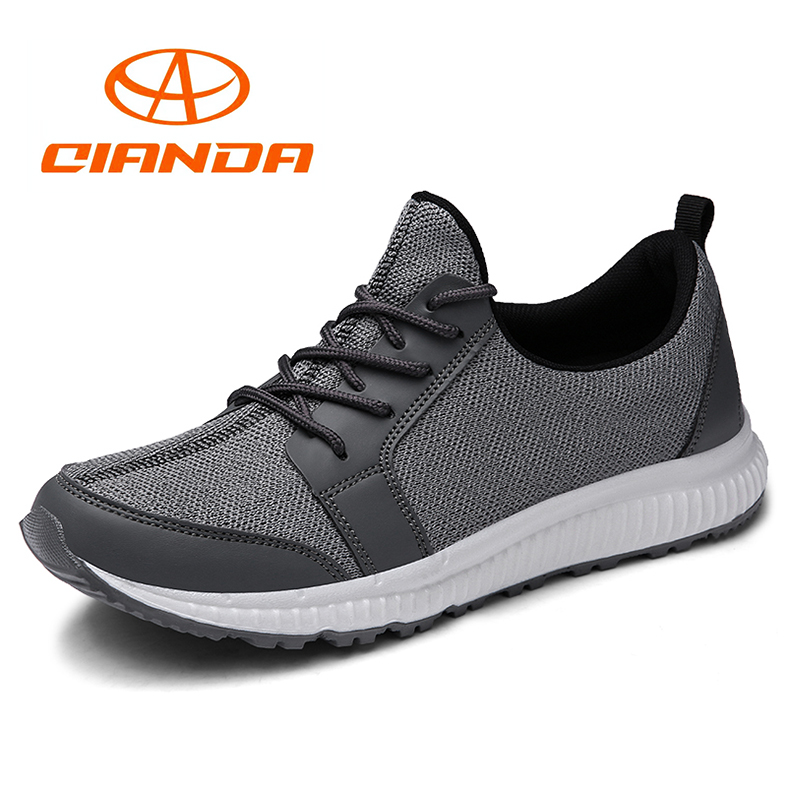 QIANDA Hot Summer Running Shoes Light Comfortable Man Sneakers Cushioning Soft Rubber Sole Breathable Mesh Men Jogging Shoes