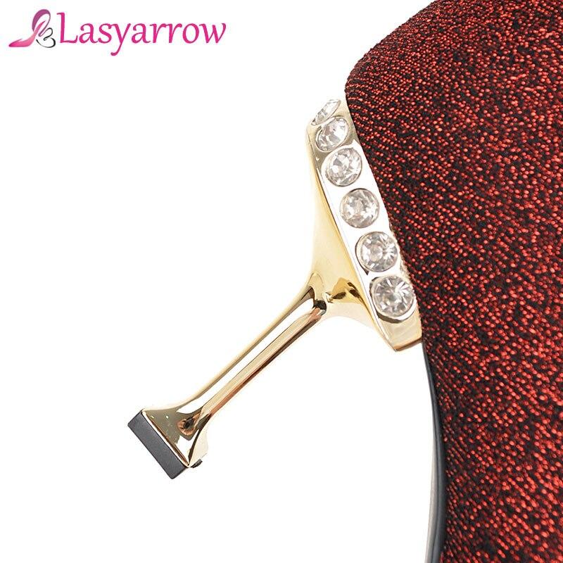 Haute Zipper Fur Partie Plus F312 Silver Chaussures Botines Du or Black dessus De Robe Lasyarrow Femmes Stiletto Mode plus Slim noir Mujer Talon Red Genou Cuisse argent Bottes plus Sexy plus rouge Gold PxqU5R1