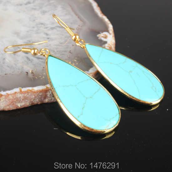 Vogue Lapis lazuli Abalone Shell Rose สีชมพูควอตซ์ Onyx Labradorite Hook Dangle ต่างหู 1 คู่
