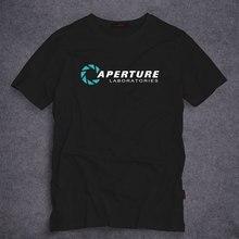 Portal 2 Aperture Laboratories Logo Men's T-shirt Video Game Fan Clothing Shirt 100% cotton Short Sleeve T shirt S-5XL