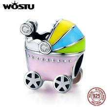 WOSTU 925 Sterling Silver Baby Car Baby Carriage Colorful Enamel Charm Beads fit Bracelet Necklace Mum Jewelry Gift FIC505(China)