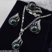 Ювелирные изделия черный жемчуг лук кулон ожерелье серьги набор AAA стиль натуральный Благородный ювелирные изделия