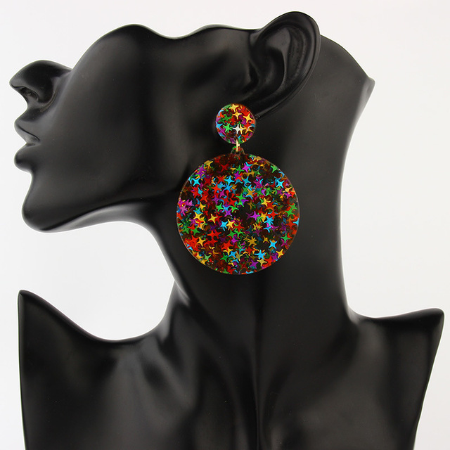 SUKI Colorful Bling Satr ZA*a Jewelry Acrylic Resin Drop Earrings For Women Geometry Big Round Glitter Earrings Acetate Brincos