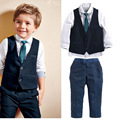 Grandwish primavera sólidos blazers para meninos das crianças camisa + colete + gravata + calças 4 Pcs Define Meninos Farmal Ternos para Crianças 24 M-7 T, SC888
