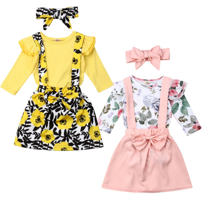 2019 Cute Baby Girls Sets Autumn Clothes Flowers 3Pcs Long Sleeve Ruffles Romper Floral <font><b>Bibs</b></font> <font><b>Skirt</b></font> Headband Girl Outfits 0-24M image