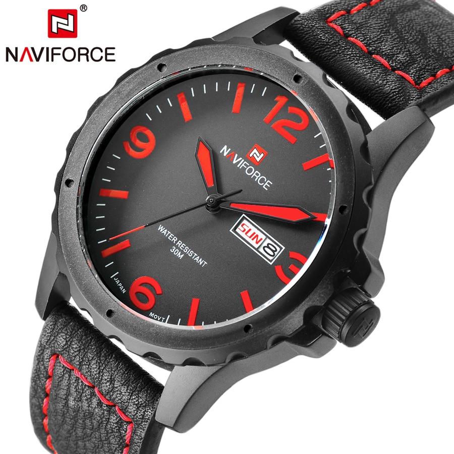 NAVIFORCE Brand Fashion Watches Men Quartz Analog Soft Leather Clock Man Sport Watch Army Military Relogios