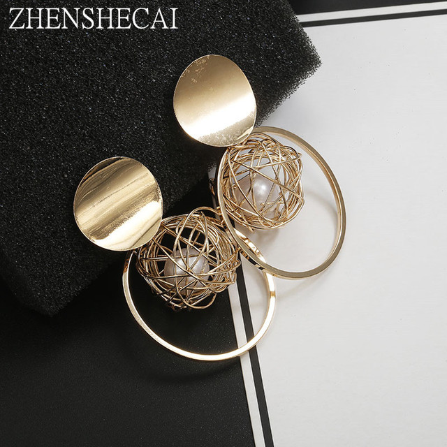 Statement earrings 2018 ball Geometric earrings For Women Round Dangle Earrings Drop modern art fashion jewelry gift