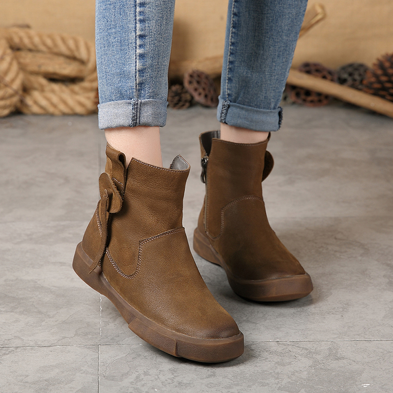 Stiefel khaki Leder Winter Flache Plüsch Booties Weibliche Komfortable Handgemachte Ankle Kappe Frau Dame Natürliche Runde Schwarzes Zip Kurze Schuhe IF8zx8wUqp