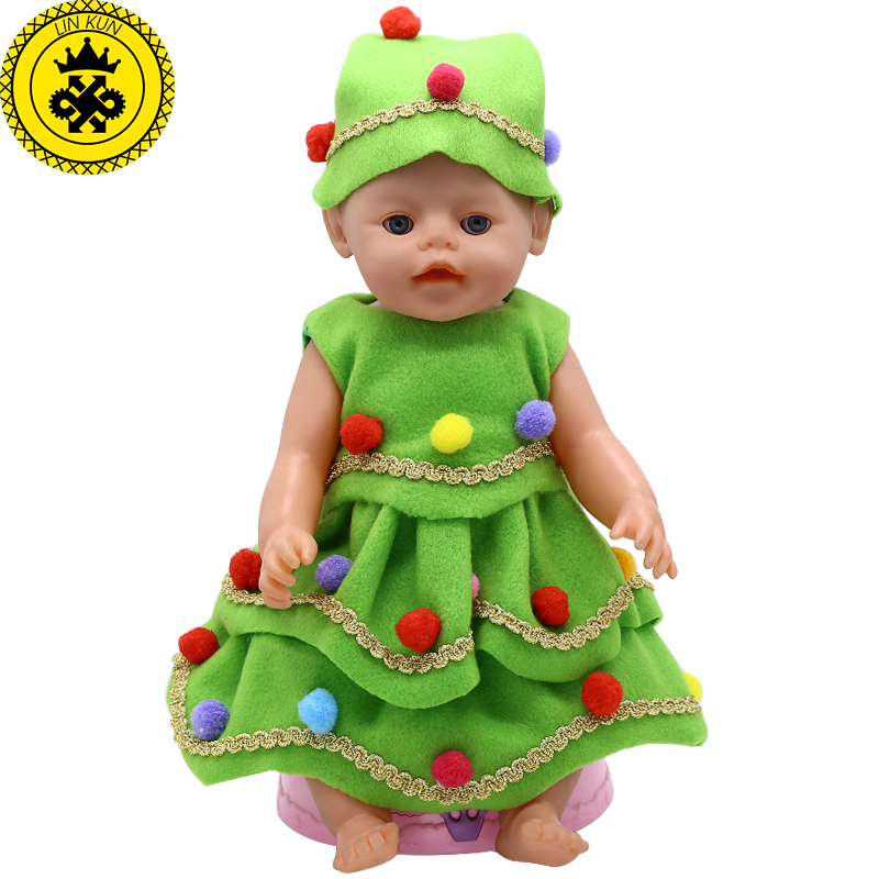 Baby Born Doll Clothes Green Christmas Costume Dress + Christmas hat Fit 43cm Zapf Baby Born Doll Accessories drop shipping 578 rose christmas gift 18 inch american girl doll swim clothes dress also fit for 43cm baby born zapf dolls