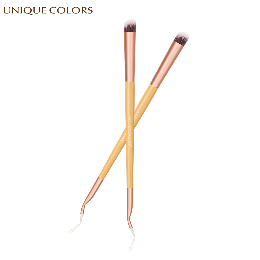 1Pcs Eyeliner Eye Shadow Brush Professional Beauty Makeup Brush Bamboo Handle Double Head Eyeliner eye Shadow Make Up Brush Tool in Eye Shadow Applicator from Beauty Health