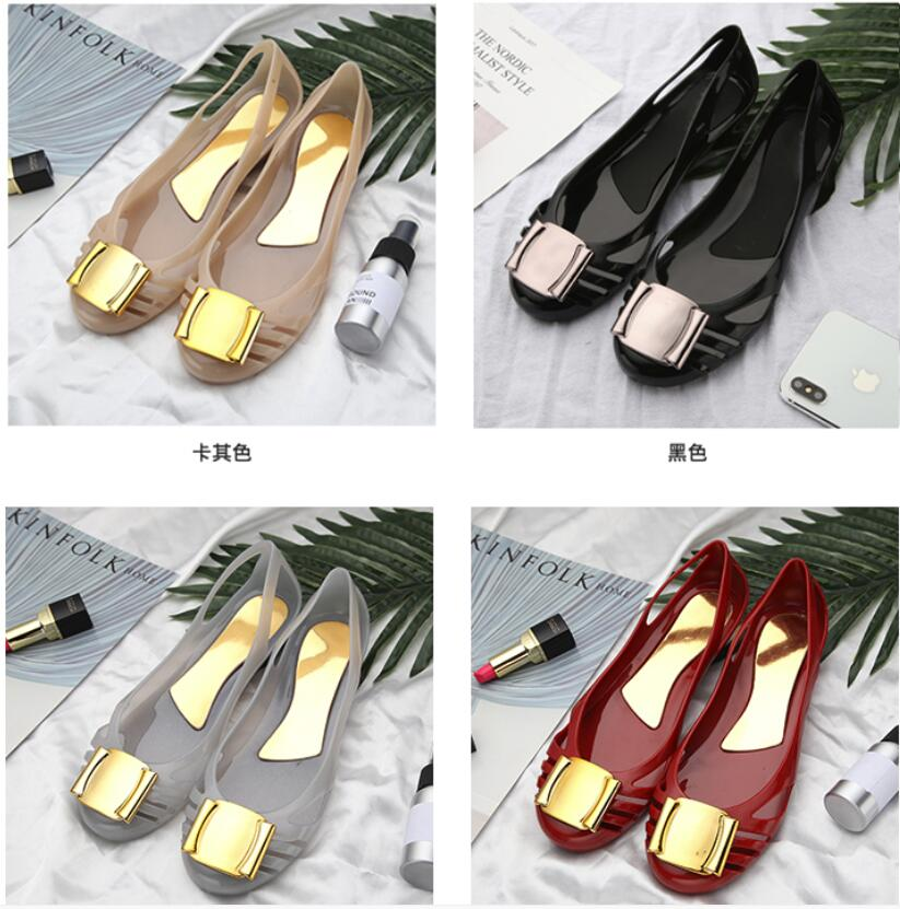 Brands design women big bow tie jelly shoes fish mouth lady summer flats rain sandals women student summer beach sandal 40 цена
