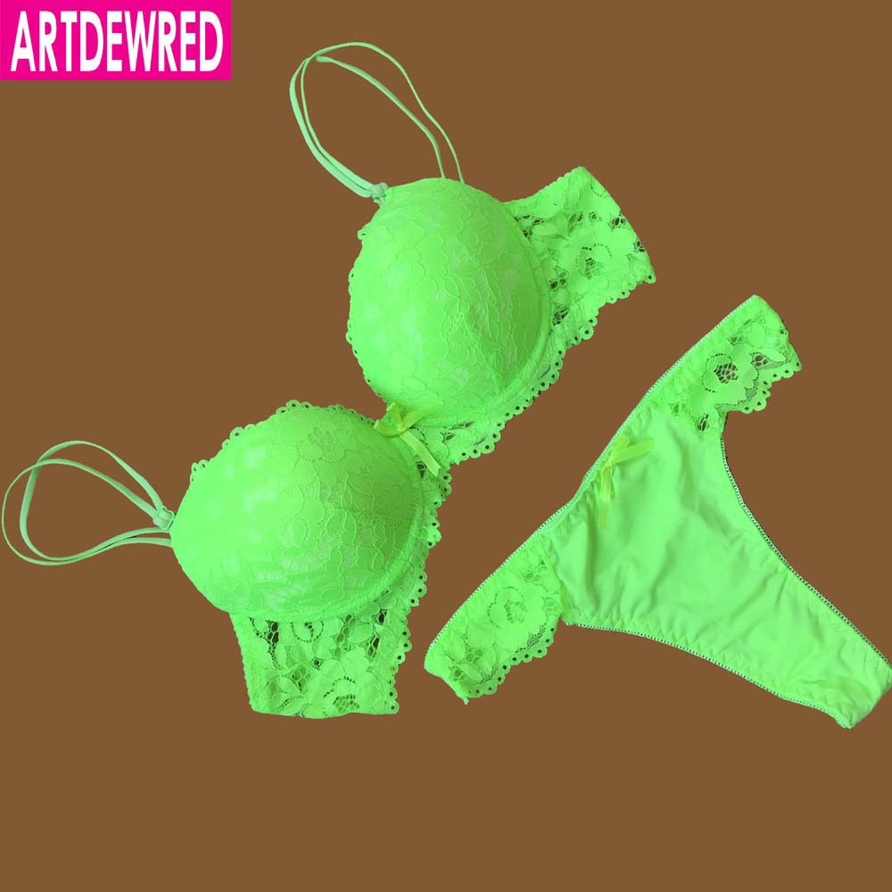ARTDEWRED Brand Temptation Lace Brief Women Bra Set Intimate Plus Size ABC Push Up Bra Brief Sets Sexy Underwear Panty Set