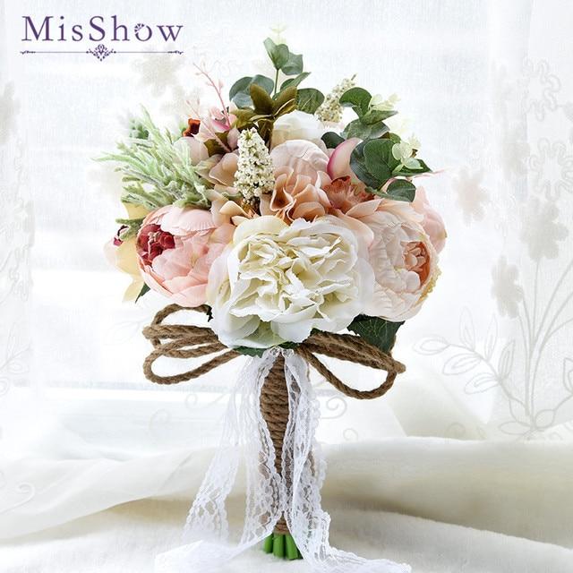 New 2018 Purple White Wedding Bouquet Handmade Artificial Flower ...