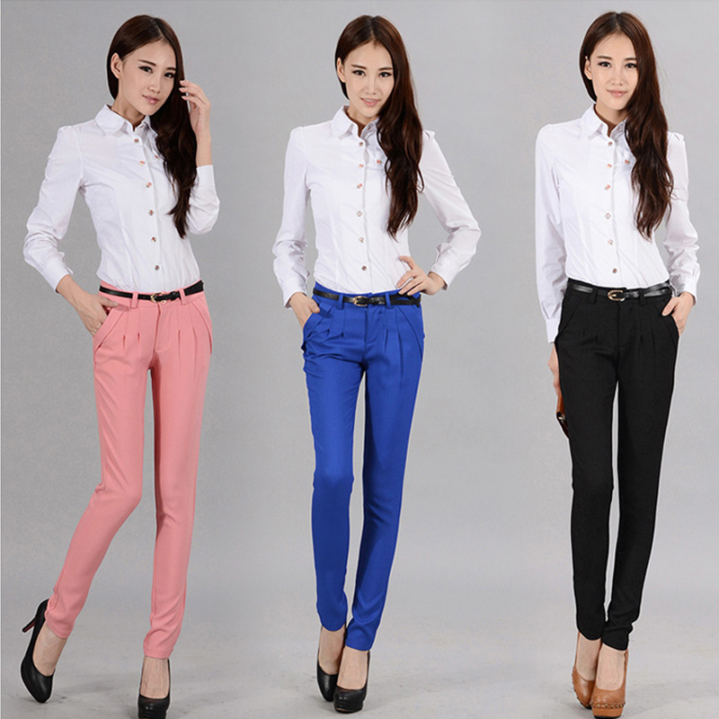 Female Pants Long Trousers Medium Waist Slim Elastic Casual Ol Formal Harem Pants Women Pants ...