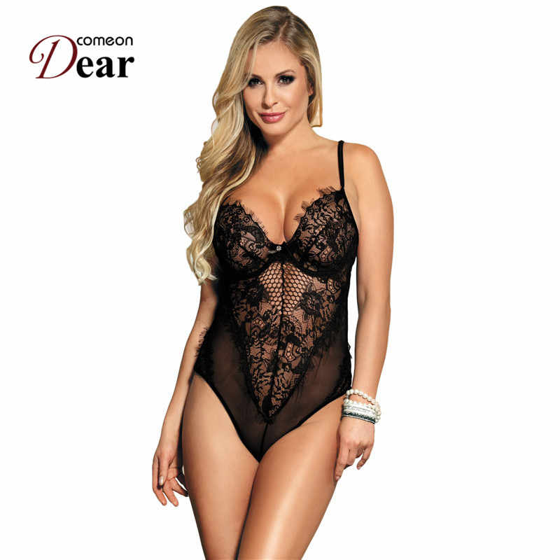 ffffad3a94 Comeondear Black White Sexy Lace Bodysuit Summer Backless See Though Thin  Sleeveless Jumpsuit Romper Women Short