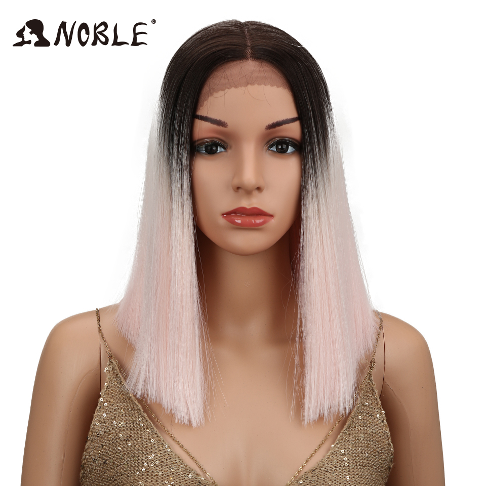 Noble Short Straight Wigs For Women Synthetic Ombre Lace Front Wig Pink Black Middle Part Space Bob Shoulder Length Glueless 14