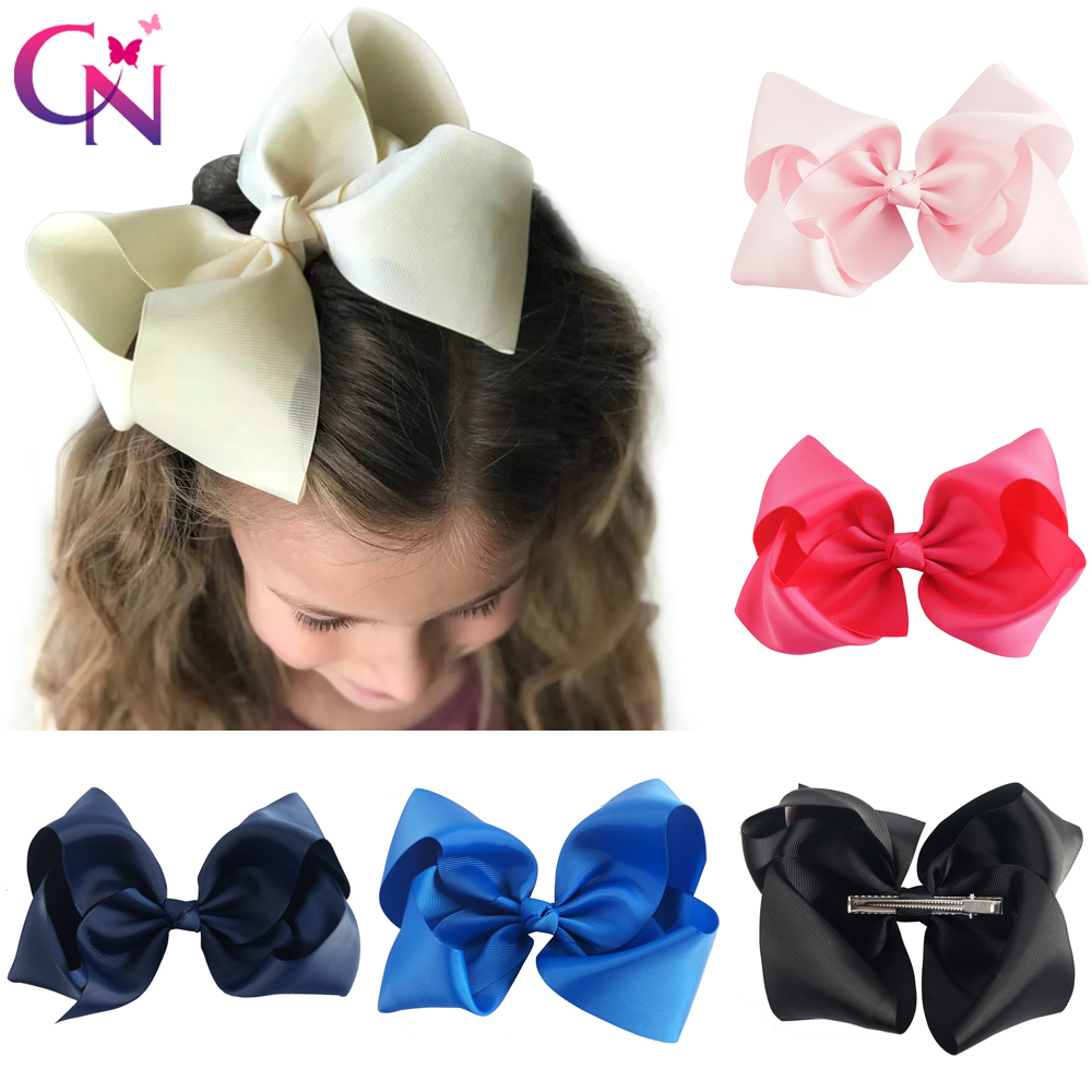 Boutique Hair Bows Girls Huge Solid Bands Baby Ribbon Party Clips 12 pcs 8 inch