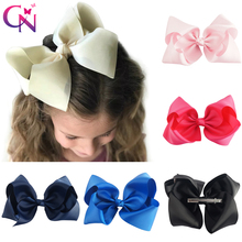 """30 Pcs/lot 8"""" Handmade Solid Large Hair Bow For Girls Kids Grosgrain Ribbon Bow With Clips Boutique Big Hair Accessories"""