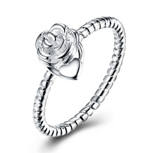 hot deal buy 2018 new 925 silver jewelry high quality round rape circle with rose flower tag finger ring for women  trendy wedding  jewelry