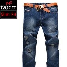 Magic Male Brand Men's Plus Size DeepBlue Slim Fit Jeans Patch Hold Denim Extended Edition Length 120cm Straight Pencil Pants