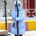 Alta Qualidade Para Baixo Casaco Meninas Jaqueta de Inverno Pato Branco Para Baixo Casaco De Neve Do Inverno para Crianças de espessura médio-longo Feminino Revestimento das crianças