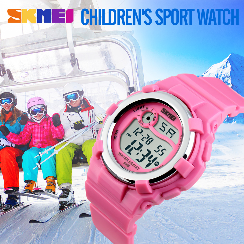 2017 New Children Watch LED Digital Watches Alarm Stopwatch Waterproof Clock Brand Kids Watches SKMEI For