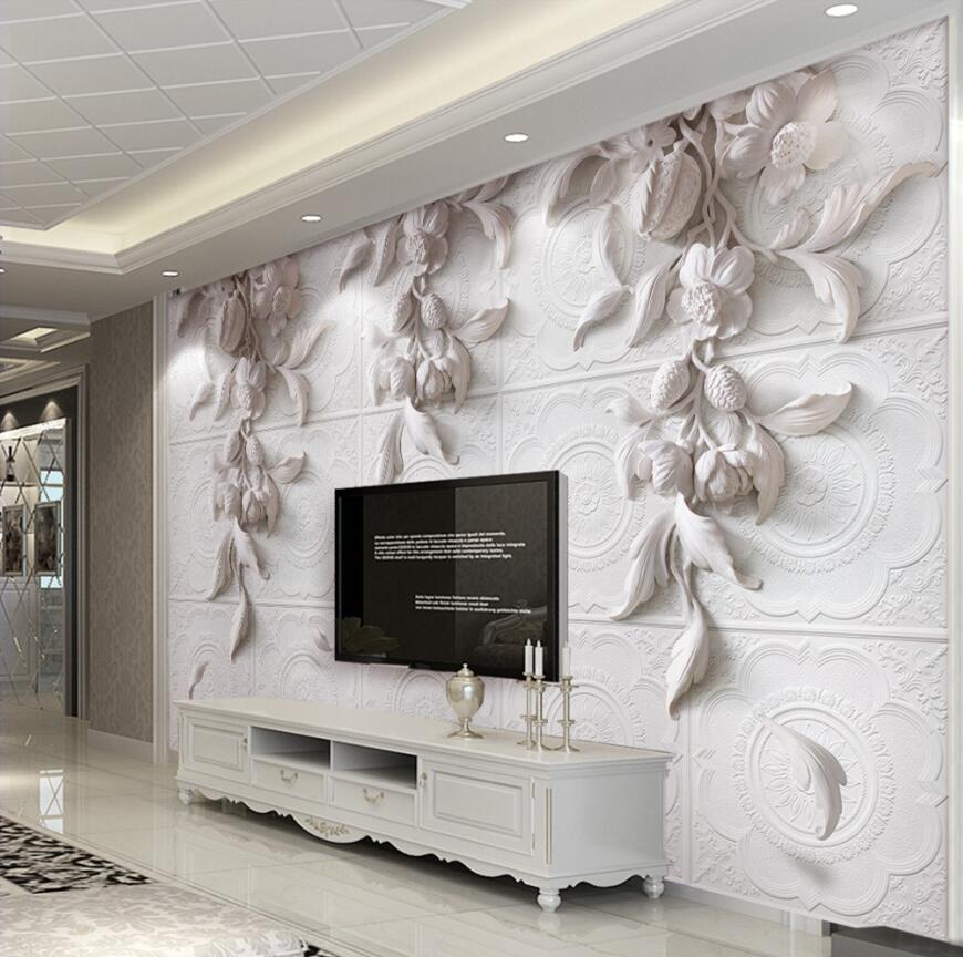 Custom 3d Photo Wallpaper Mural Wall Sticker 3d Stereo White European Carving Orchid Hotel TV Background Wall Decor Wallpaper free shipping european large palace painting background wallpaper mural hotel bar ktv beauty wallpaper