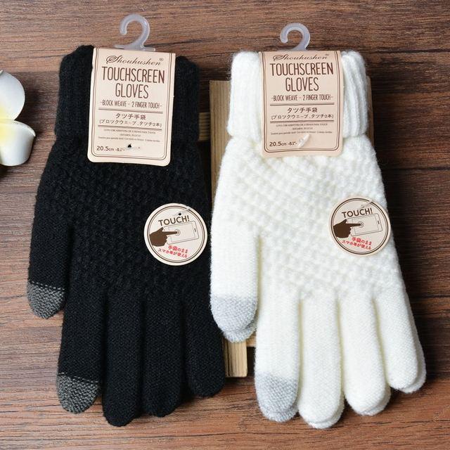 Winter Touch Screen Gloves Women Men Warm Stretch Knit Mittens Imitation Wool Full Finger Guantes Female Crochet Luvas Thicken 4