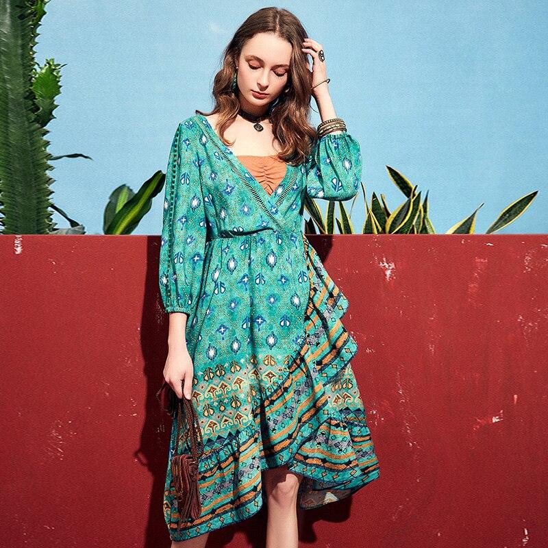 ARTKA 2019 printemps été vedette femmes robe élégante bohême mode robe perroquet vert col en V Design Vintage robes LA10891X - 3