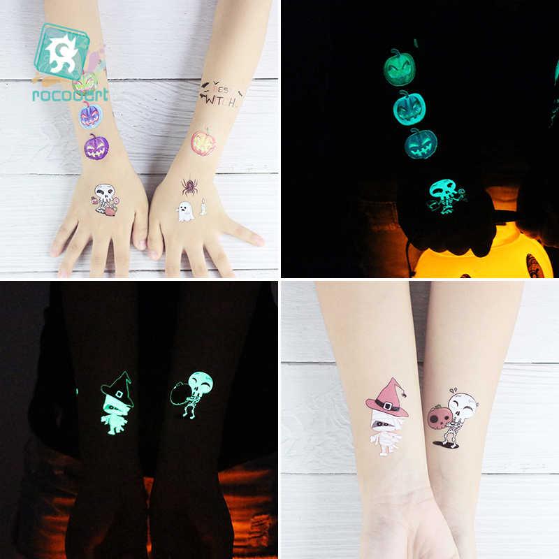 Rocooart, tatuaje de Halloween para niños que brilla en la oscuridad, Taty, pegatinas luminosas impermeables de Tatuaje falso, tatuaje de dibujos animados para arte corporal