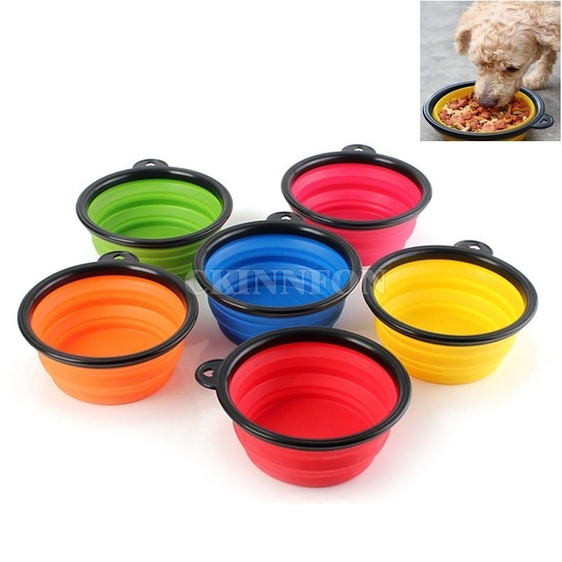 Portable Dog Pet Travel Collapsible Food Water Bowls Pets: DHL 200pcs Collapsible Dog Cat Portable Silicone Bowls