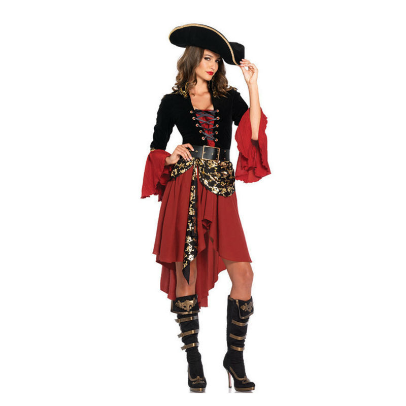 Vocole Pirates Caribbean Costume Adult Women Halloween Carnival Party Costume Crimson Pirate Cosplay Fantasia Sexy Fancy Dress-in Movie u0026 TV costumes from ...  sc 1 st  AliExpress.com & Vocole Pirates Caribbean Costume Adult Women Halloween Carnival ...