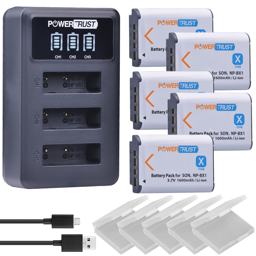 5Pcs 1600mAh NPBX1 NP BX1 NP-BX1 Batteries + LED 3 Port USB Charger for Sony DSC-RX100 DSC-WX500 HX300 WX300 HDR AS100v AS200V цены