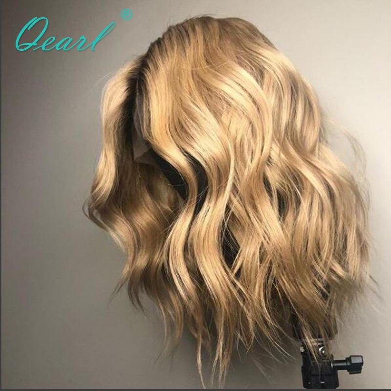 Малый Кепки парик 150% плотность Ombre блондинка Синтетические волосы на кружеве парики предварительно сорвал естественно волосяного покрова ...
