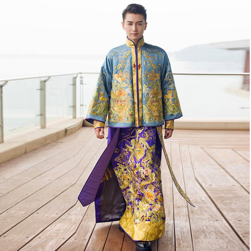 Groom Traditional Chinese Wedding Gown Vintage Cheongsam Men Long Dragon Phoenix Clothing Embroidery Robe Oriental Evening Dress