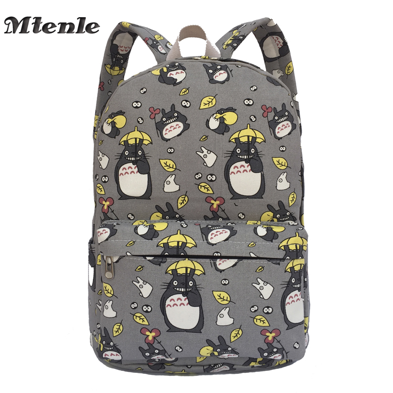 MTENLE Lovely Totoro Printing Canvas Backpack Korean Styles of School Bags Free Shipping -B