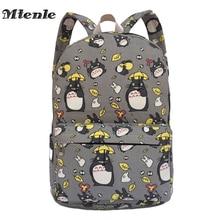 MTENLE Lovely Totoro Printing Canvas Backpack Korean Styles of School Bags Free