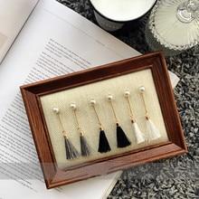 Серьга ювелирные изделия Действовать роль ofing пробован простой черный и белый пепел кисточка + жемчужина темперамент женщина с длинными серьги