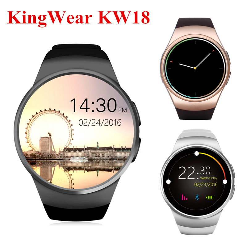 KingWear KW18 Bluetooth Smart Watch MTK2502 Phone IPS Screen Smartwatch Heart Rate Monitor For IOS Android Support Nano SIM Card aiwatch g3 smart watch phone mtk2502 bluetooth 4 0 gsm sim card