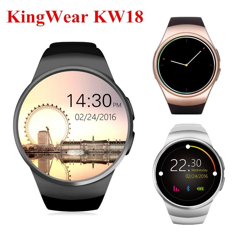 Galleria fotografica KingWear KW18 Bluetooth Smart Watch in MTK2502 IPS Schermo Del Telefono <font><b>Smartwatch</b></font> Heart Rate Monitor Per IOS Android di Sostegno Nano SIM Card