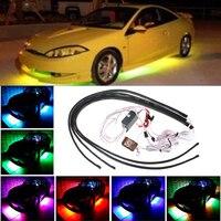 1set 60 90CM RGB LED Strip Light Car Auto Remote Control Decorative Flexible LED Atmosphere Lamp
