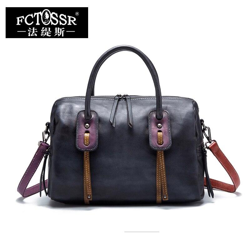Office Women S Handbags Messenger Bag 2018 Handmade Genuine Leather Shoulder Sling Bags Lady Top Handle Tote Portable Hand