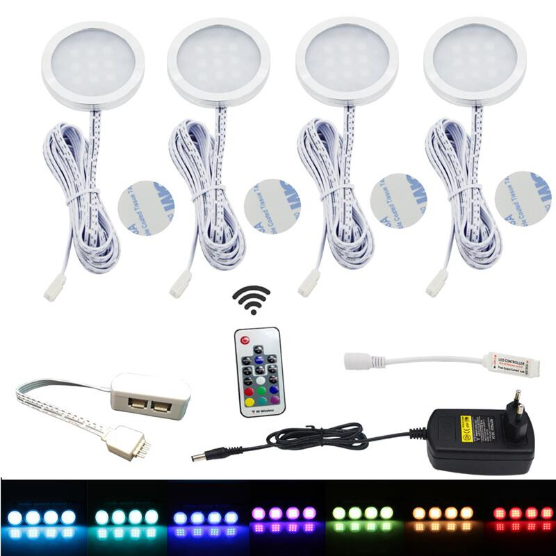 led under cabinet light downlight spotlights kit with rf remote control dimmable rgb for home. Black Bedroom Furniture Sets. Home Design Ideas