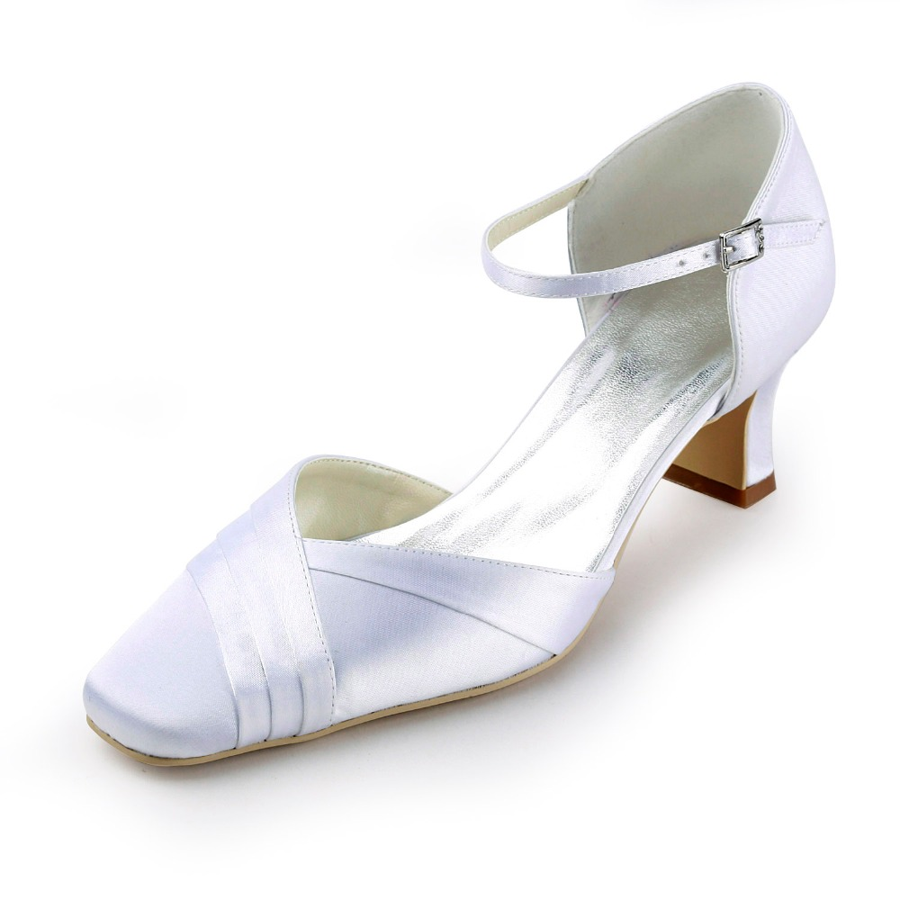 EP11109 Women White Ivory Bride Bridesmaids Square Toe Chunky Heels 2'' Bridal Pumps Buckle Satin Wedding Dress Shoes hp1544i white ivory peep toe women wedding pumps ankle strap crystal buckle bride bridesmaids high heel satin bridal prom shoes