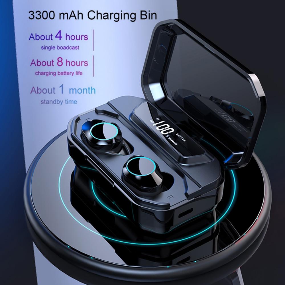 TWS Bluetooth 5 0 Earphone With digital display 6D stereo Bluetooth headset 3300MA LED Power Bank