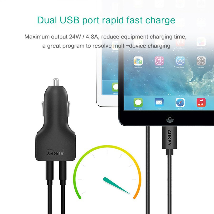 AUKEY Powerful Usb Car Charger 4.8A Mini Mobile Phone Car-Charger for Xiaomi mi 6 iPhone X 8 Plus 7 Samsung Galaxy Note 8/S8 etc