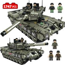 цена на 1747 Pcs Leopard 2 Main Battle Tank Model Building Blocks Compatible Legoingly Military WW2 Army Soldier Bicks Toys For Kid Boys